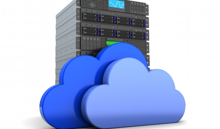 3d illustration of server computer and cloud symbol, over white